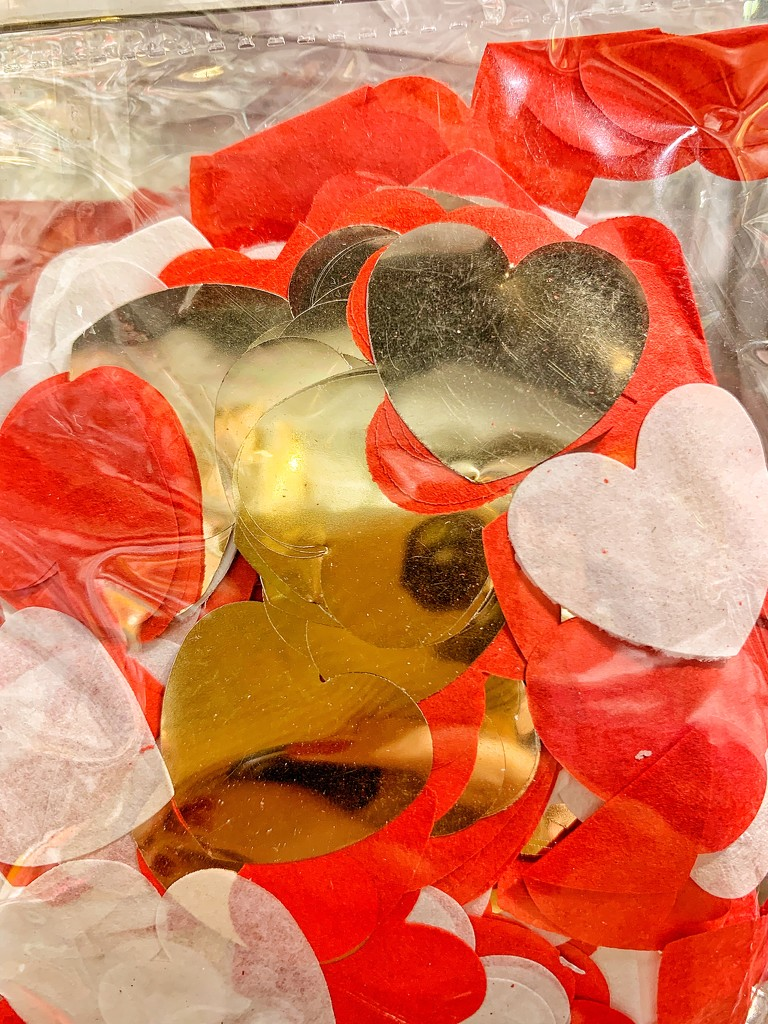 Gold, white and red hearts.  by cocobella