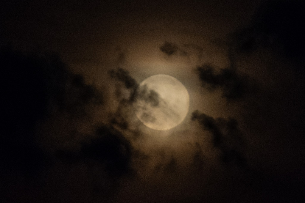 Moon in the clouds... by thewatersphotos