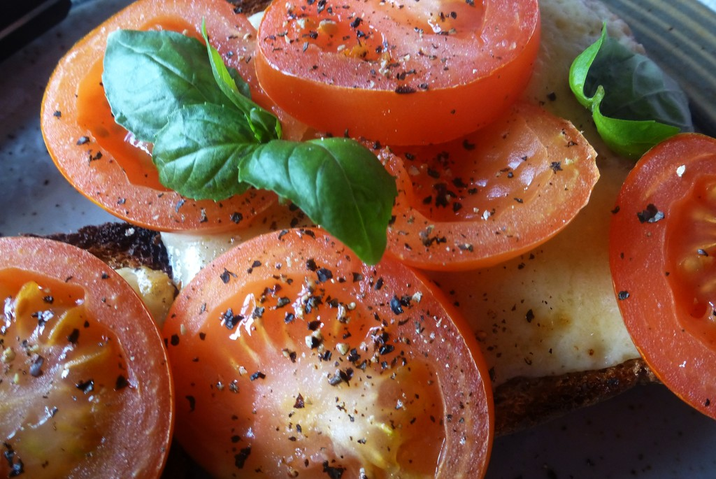 basil on tomatoes on cheese on toast with pepper by quietpurplehaze