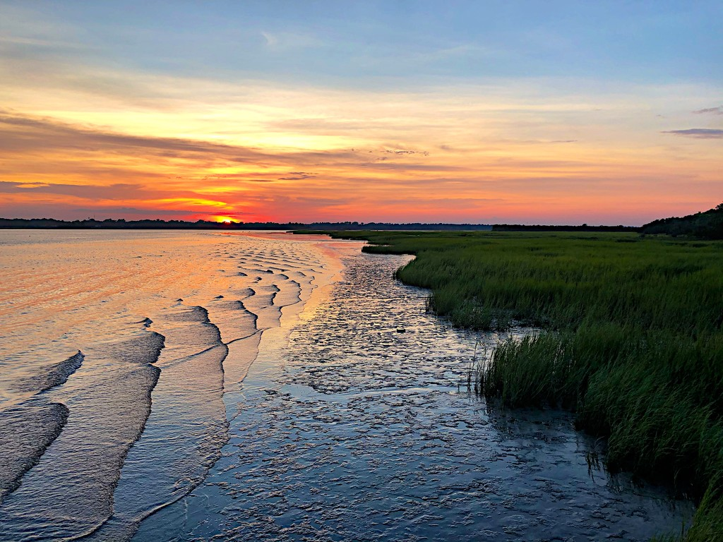 Sunset over the marsh at low tide, Ashley River at Charleston by congaree