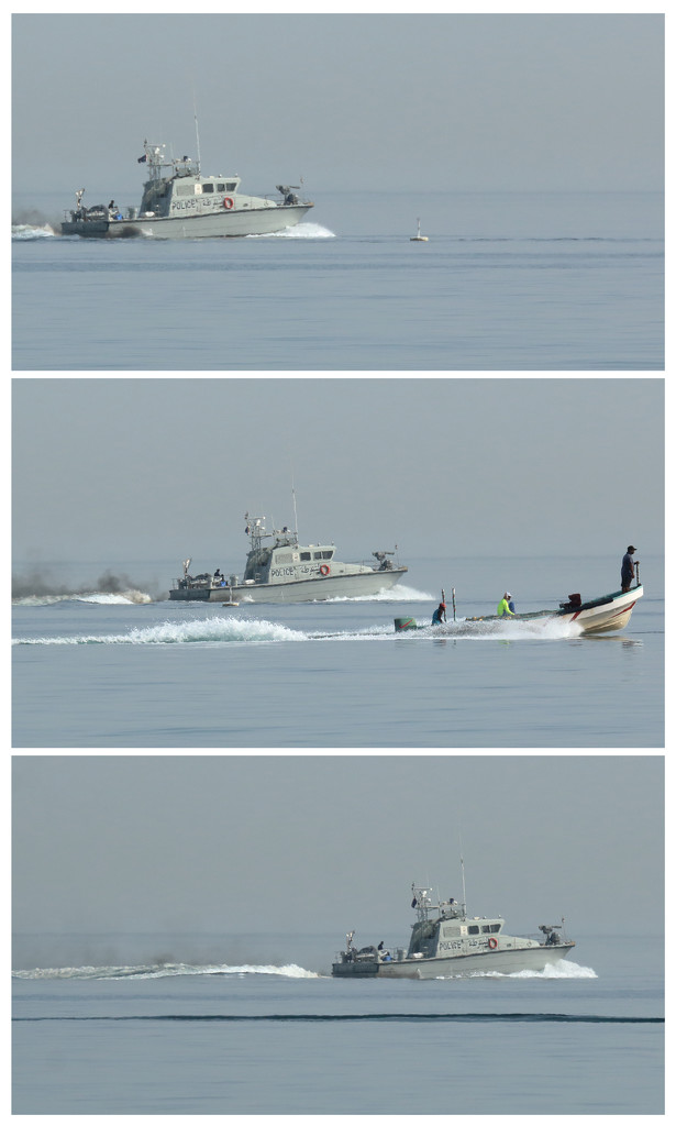 Police boat triptych by ingrid01