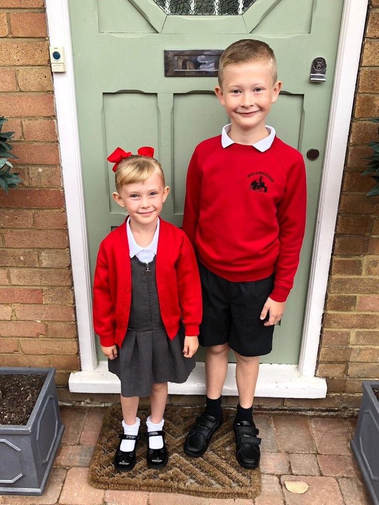 First Day Back at School for Finley and Niamh by susiemc