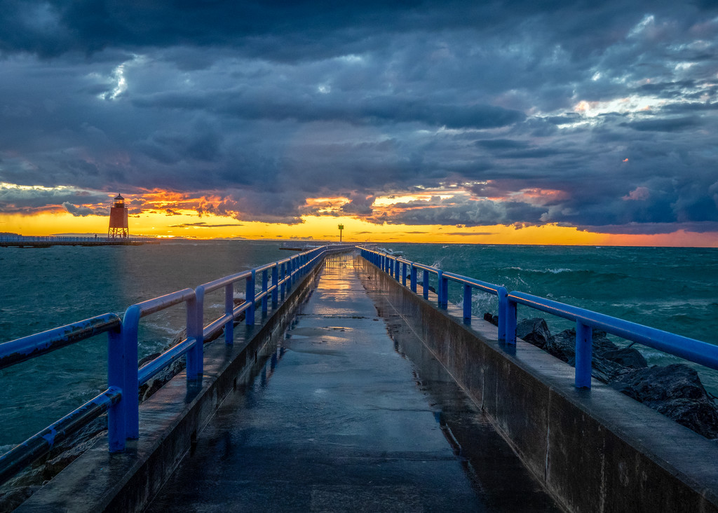 Charlevoix Pier at Sunset by rosiekerr