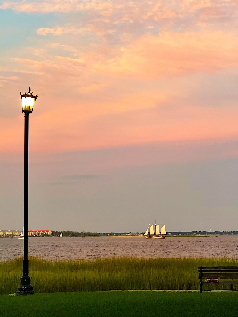 Charleston Harbor sunset with schooner by congaree