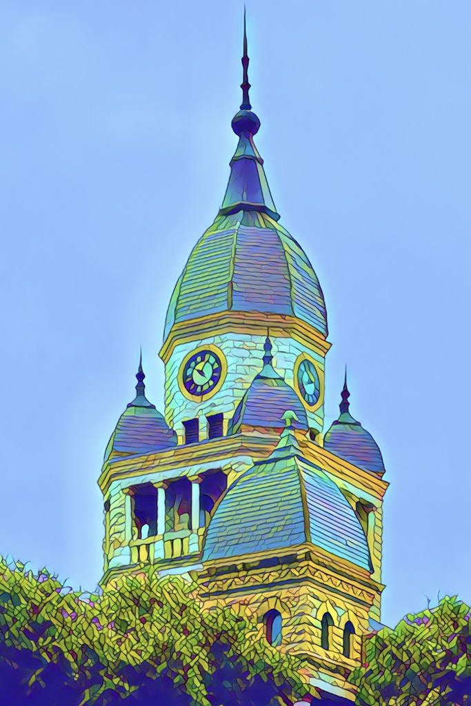 The Denton Courthouse clock tower by louannwarren