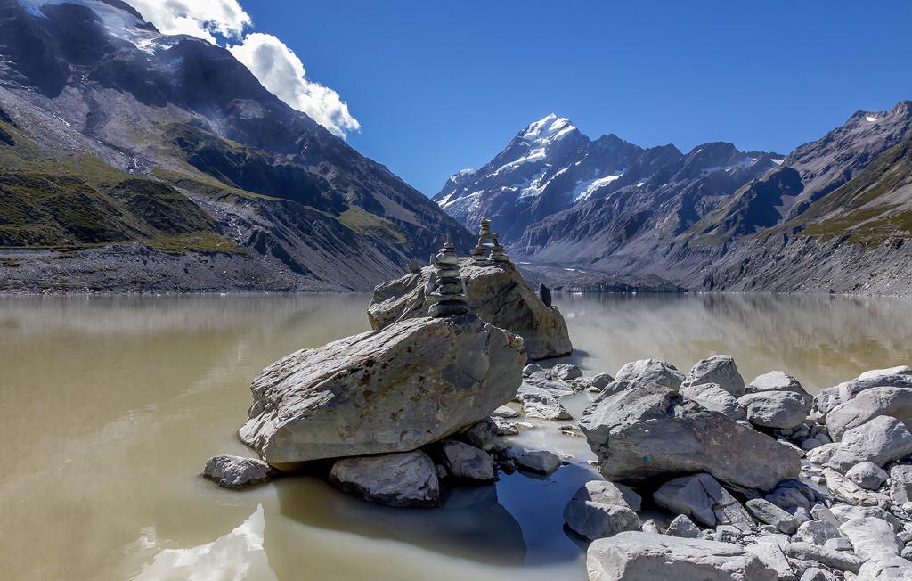 Inukshuk at Mount Cook Glacier  by shepherdmanswife