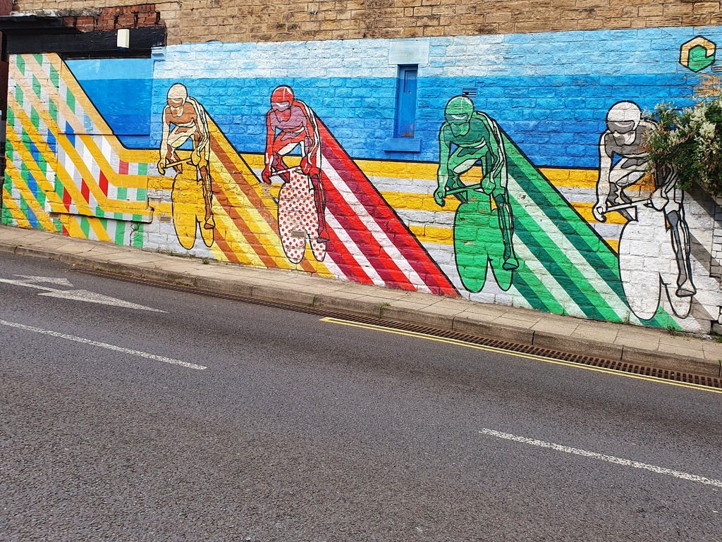 Mural painted from when the tour de France came through Sheffield by isaacsnek