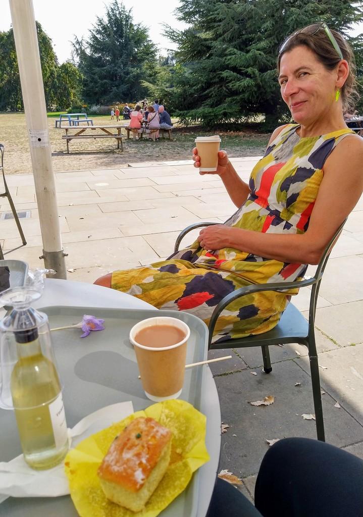 Tea, lemon and elderflower cake and wine at the Orangery by boxplayer