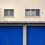 24th Sep 2020 - Hearts on the windows and blue garages.
