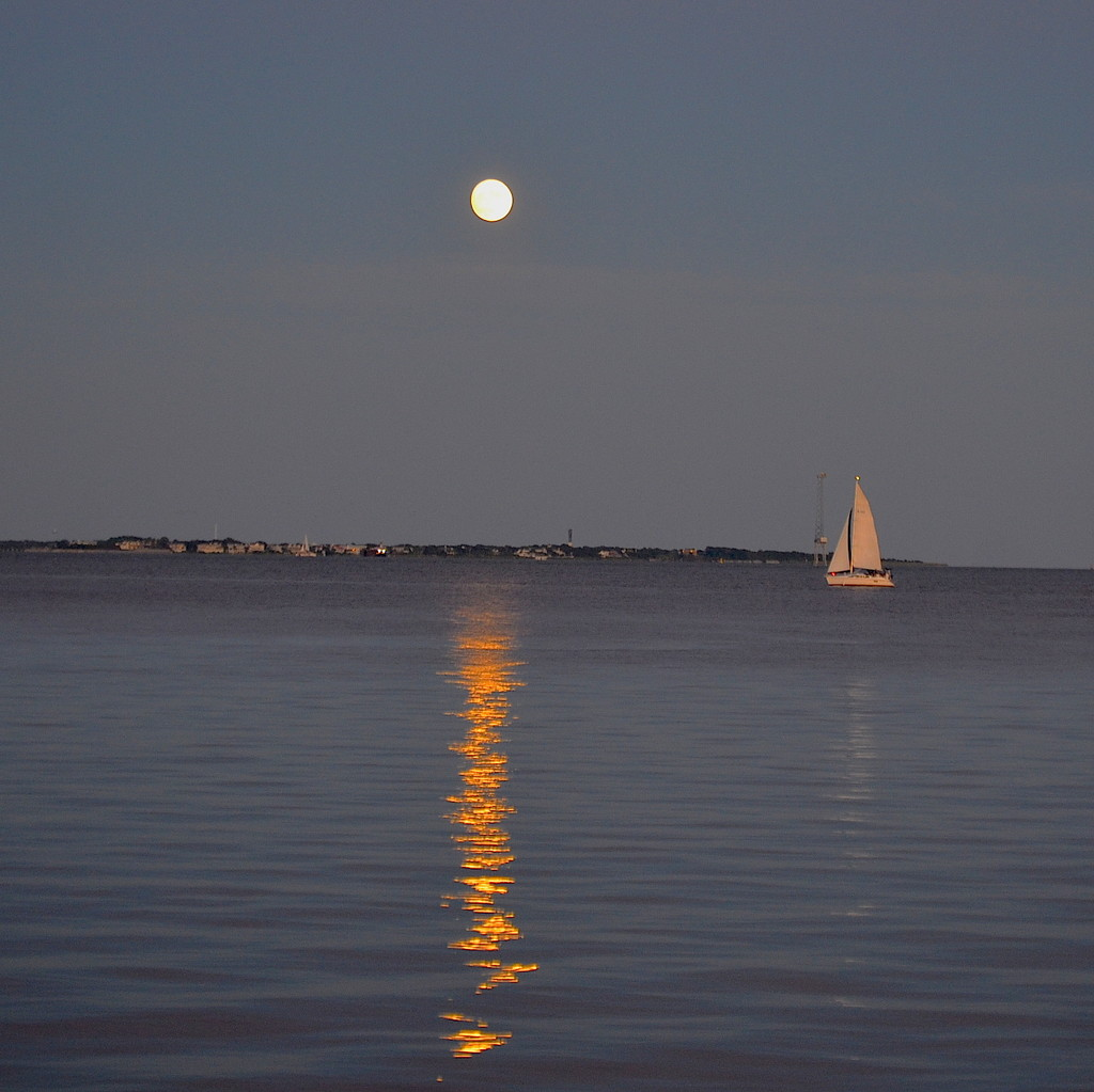 Full moon over Charleston Harbor by congaree