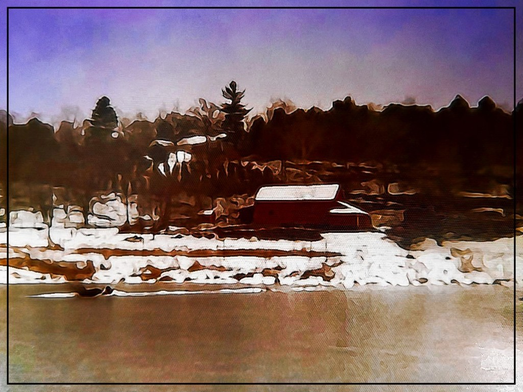 The Red Barn in Winter by olivetreeann