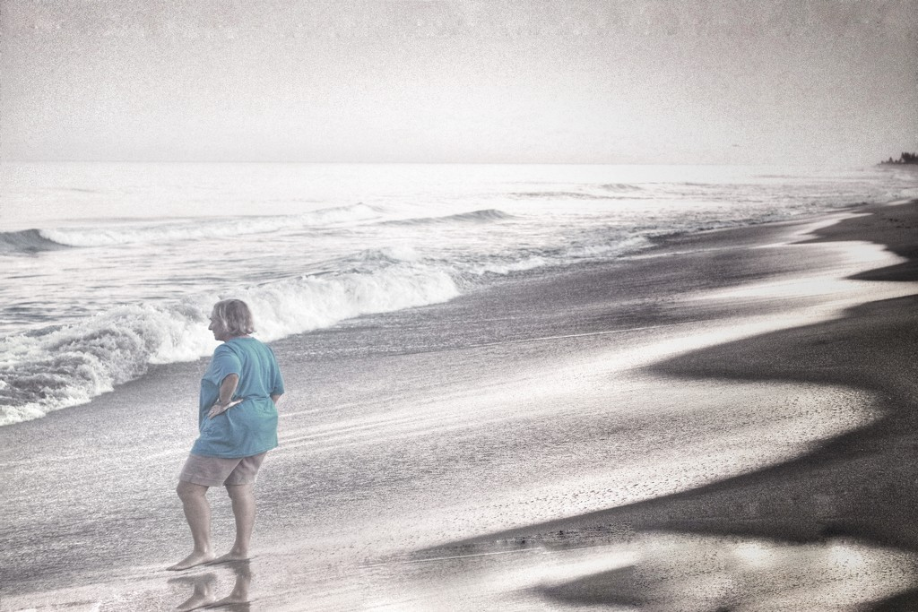Susan at the beach.   by joesweet