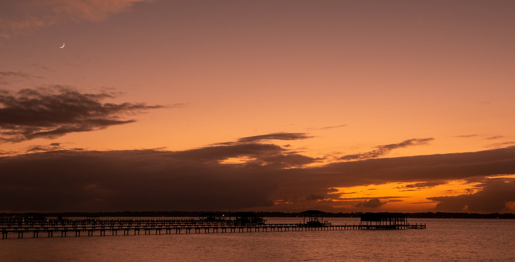 Sunset and Crescent Moon! by rickster549