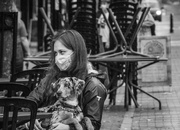 26th Oct 2020 - young woman with dog, Church Street 2020-10-21