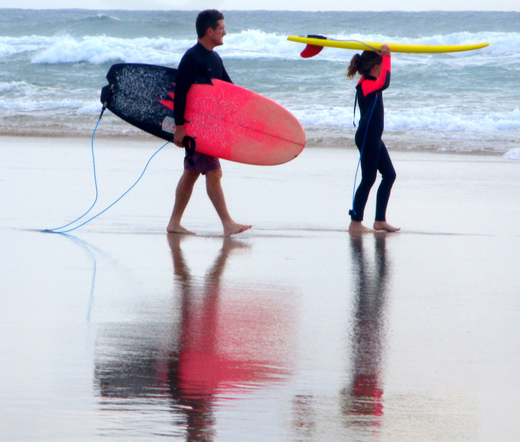 Father & young daughter off into the surf Coolum Beach Series by 777margo