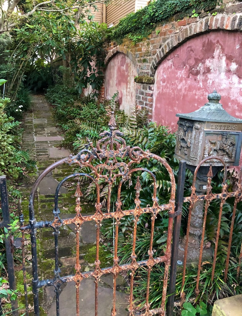 Antique gate and mailbox, historic district, Charleston by congaree