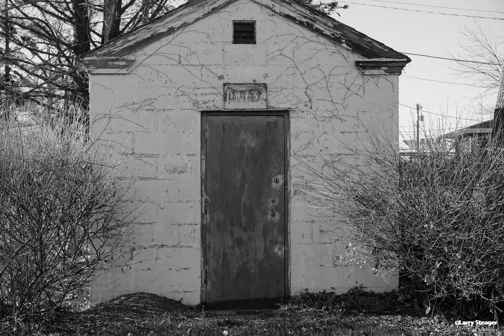 Old utility company building B&W by larrysphotos