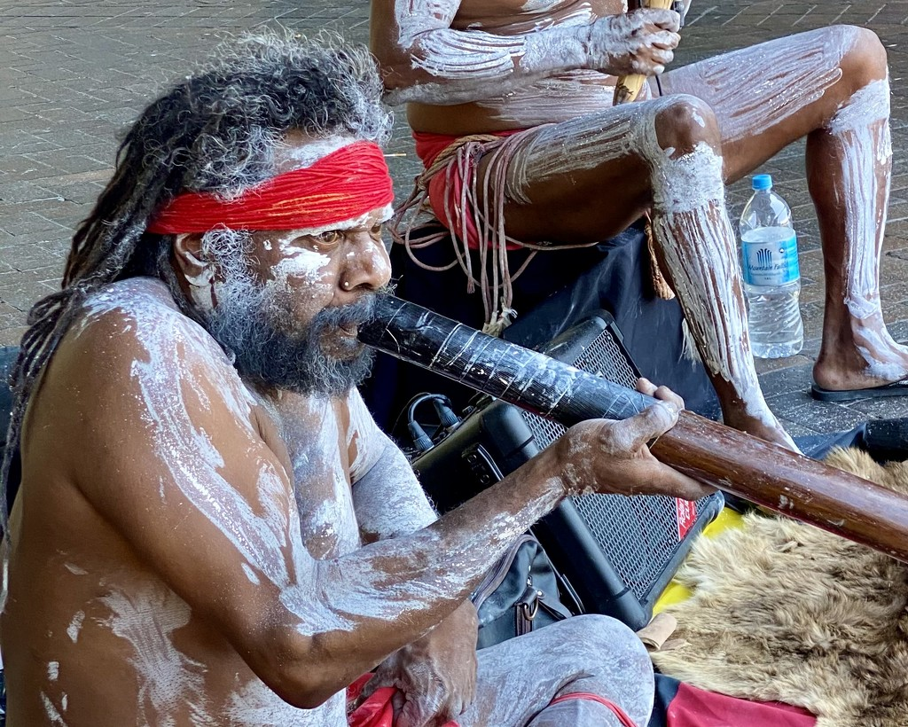 Didgeridoo player busking near the Manly ferry   by johnfalconer