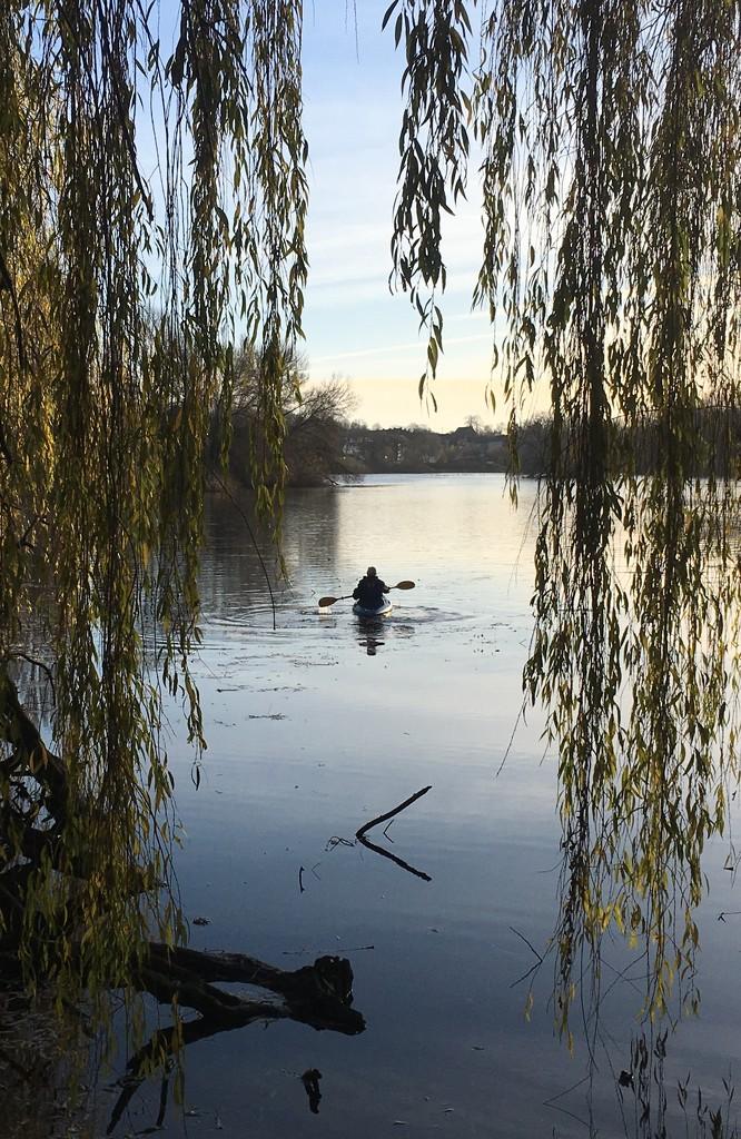 Lone canoeist by pattyblue