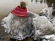 16th Dec 2020 - ICE covered rock decorated with my Toque!