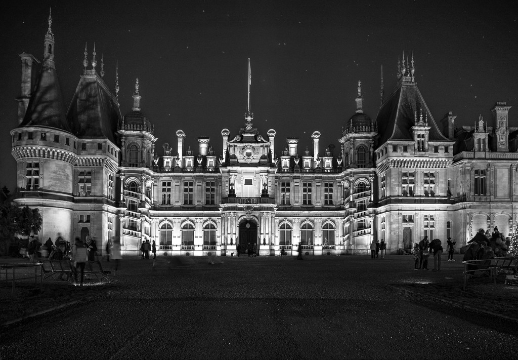 Waddesdon Manor - At Night (monotone version - edited) by netkonnexion