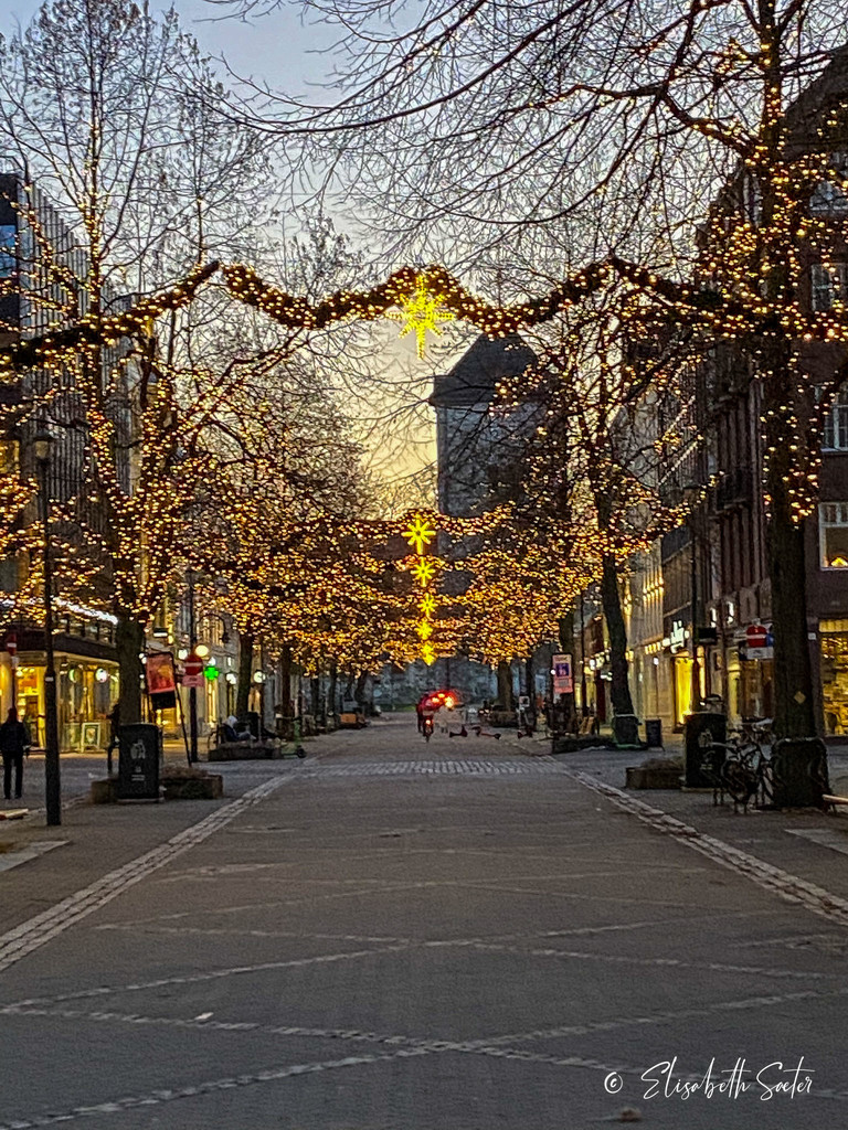 Christmas lights in the city by elisasaeter