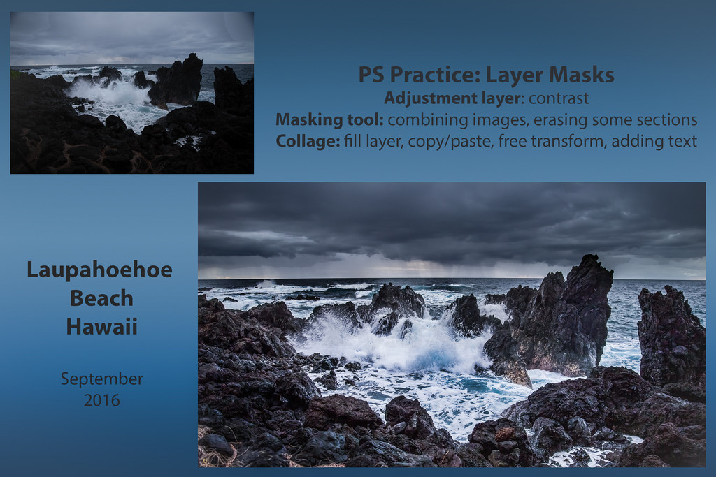 PS Lesson Layer Mask Collage Laupahoehoe Beach by jyokota