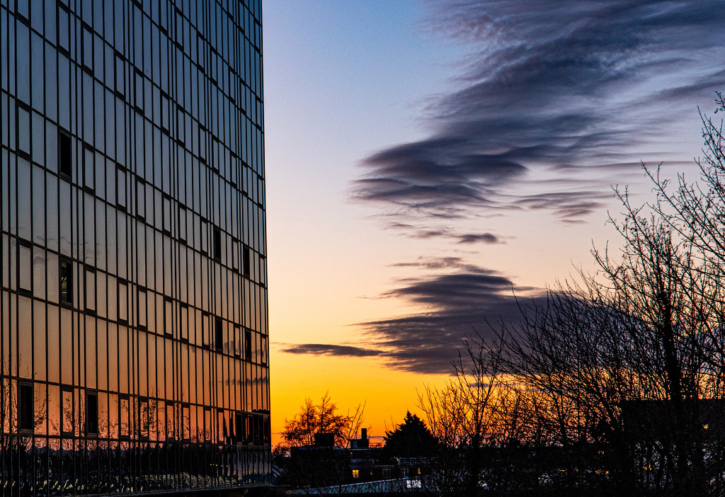 Sunset building by peadar