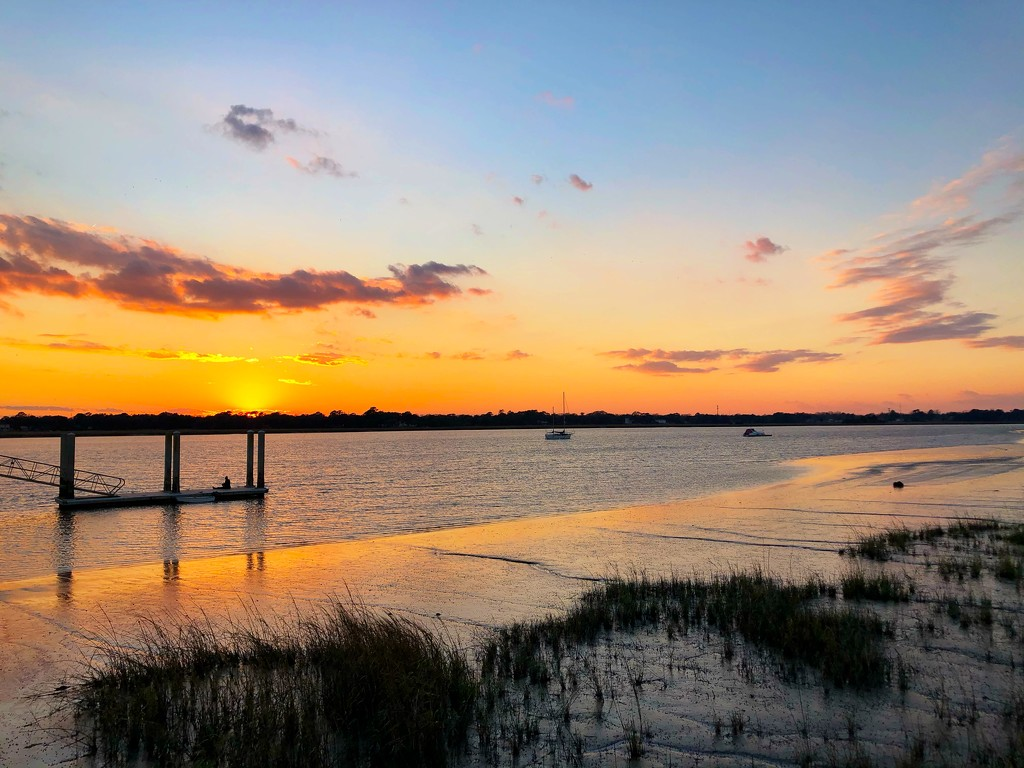Sunset at low tide, Ashley River  by congaree
