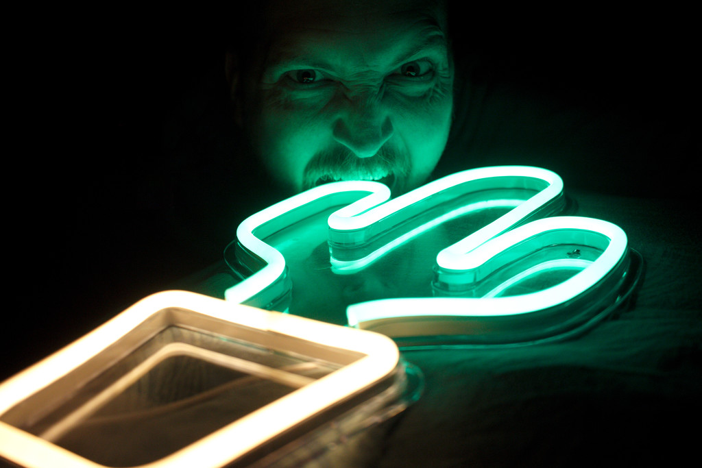Untitled Photo Of Me Biting A Cactus Neon Sign by spuddy