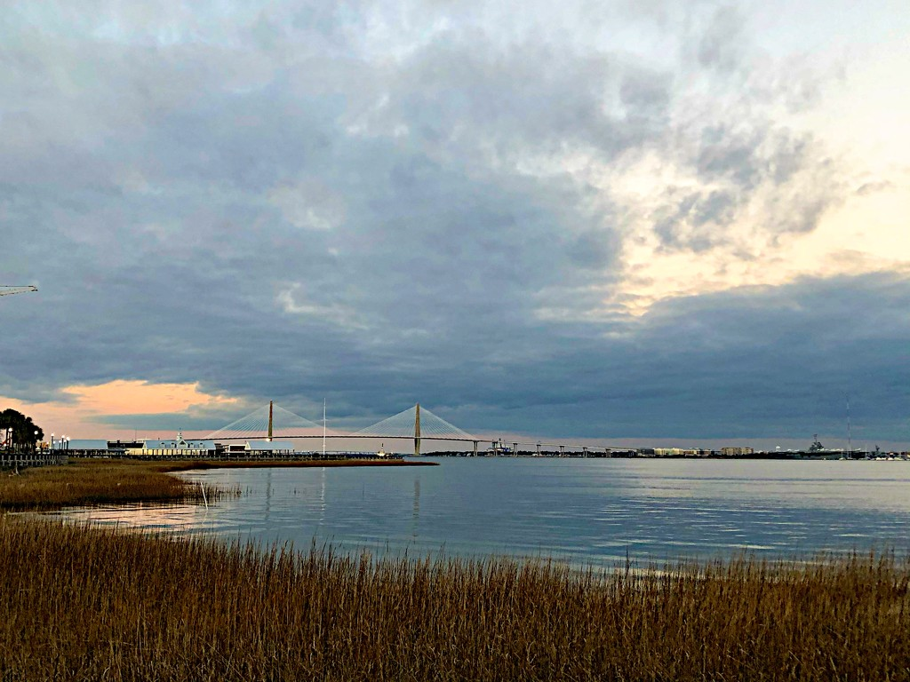 Charleston Harbor from Waterfront Park at sunset by congaree