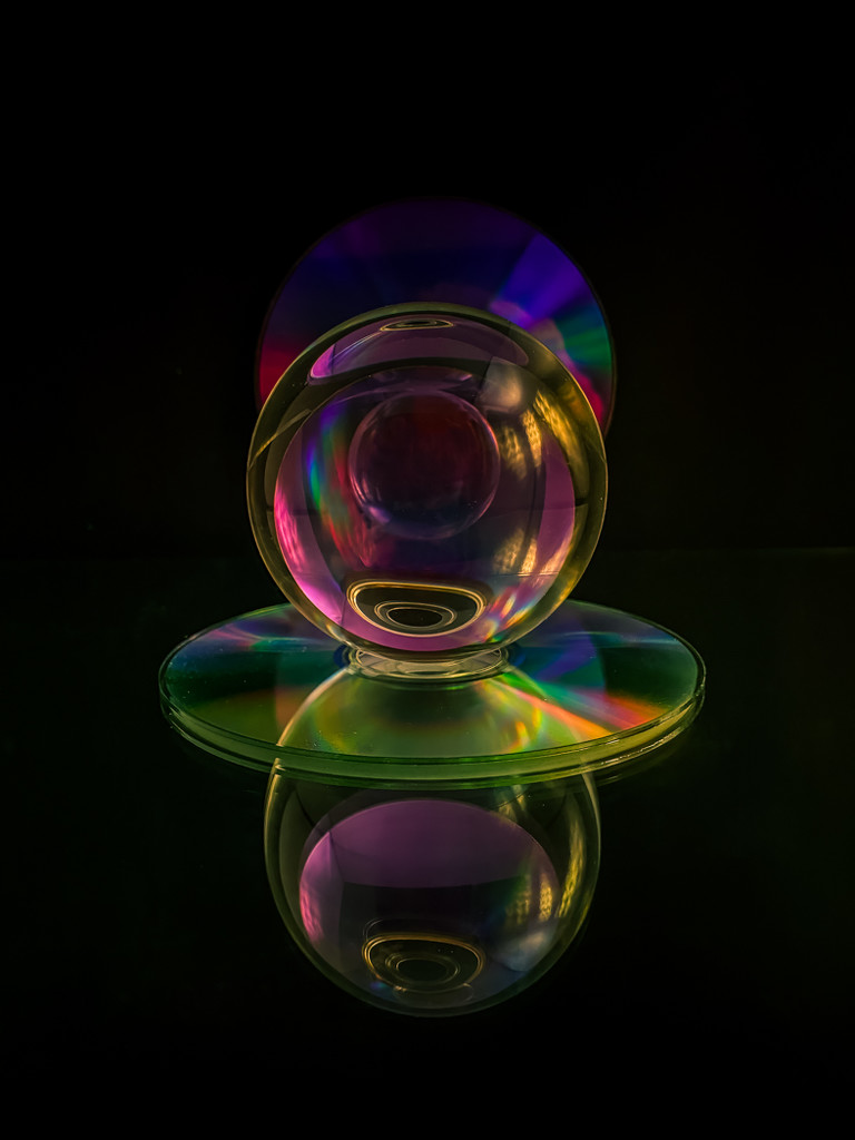 Crystal Ball and DVD Disk Reflection by sprphotos