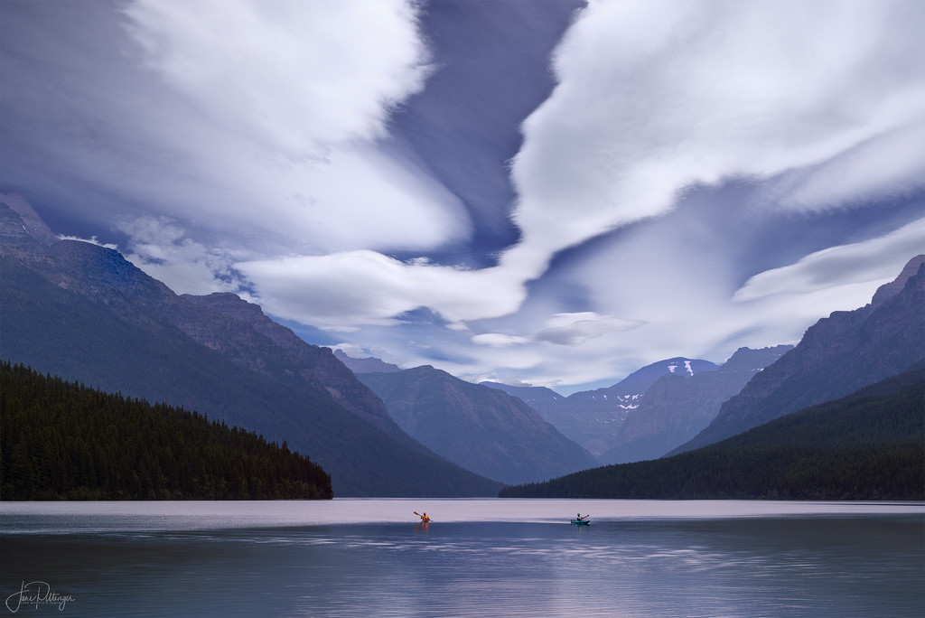 Kayakers At Bowman Lake 2021 Reedit  by jgpittenger