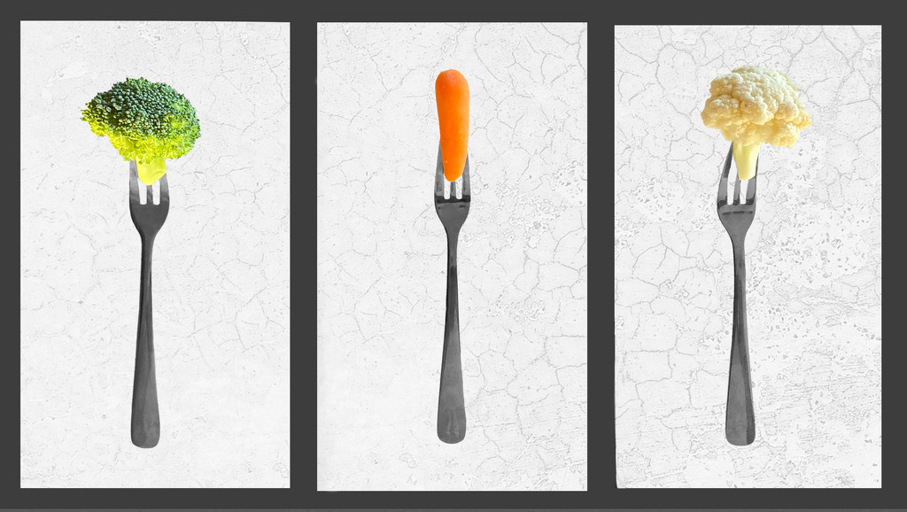 Fork and Veggie Triptych by sprphotos