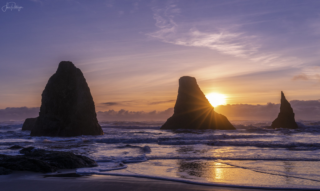Sunset Star At Bandon Rocks by jgpittenger