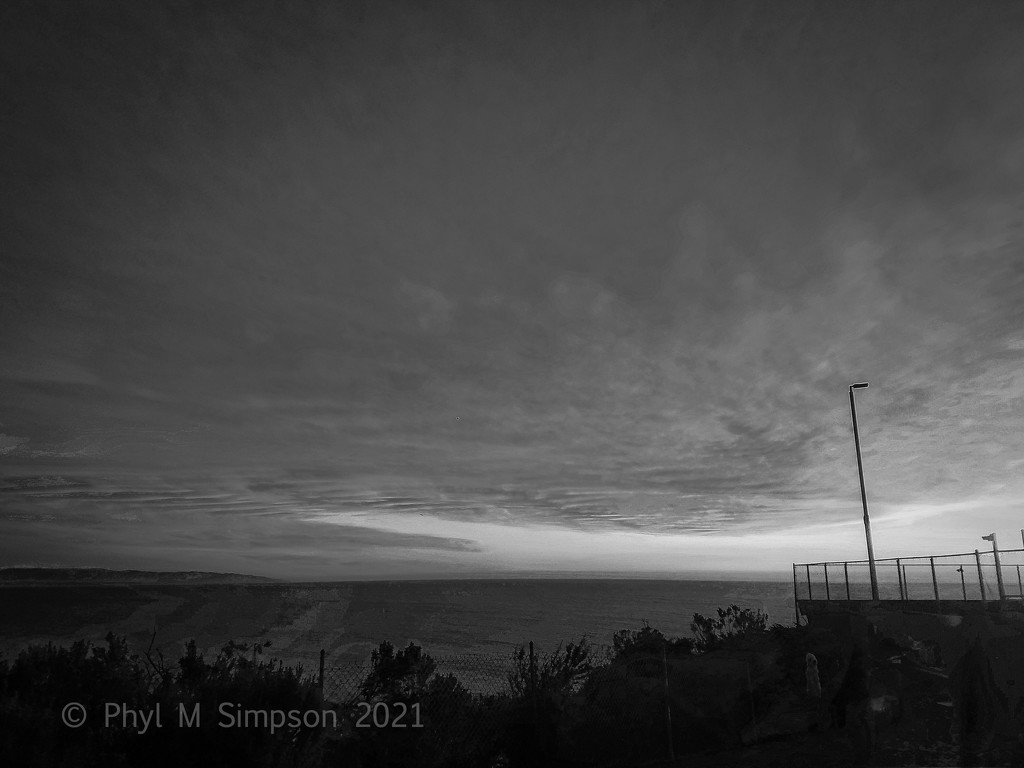 Tennis Seaside At Sunset In BnW by elatedpixie