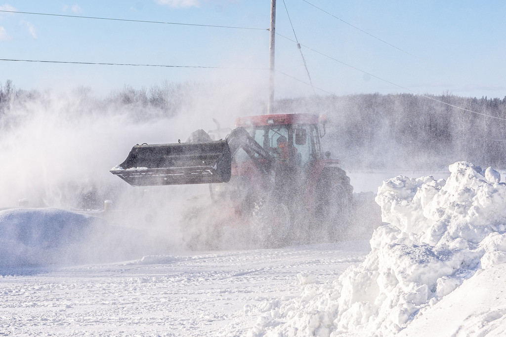 Blowing Snow to Clear the Road by farmreporter