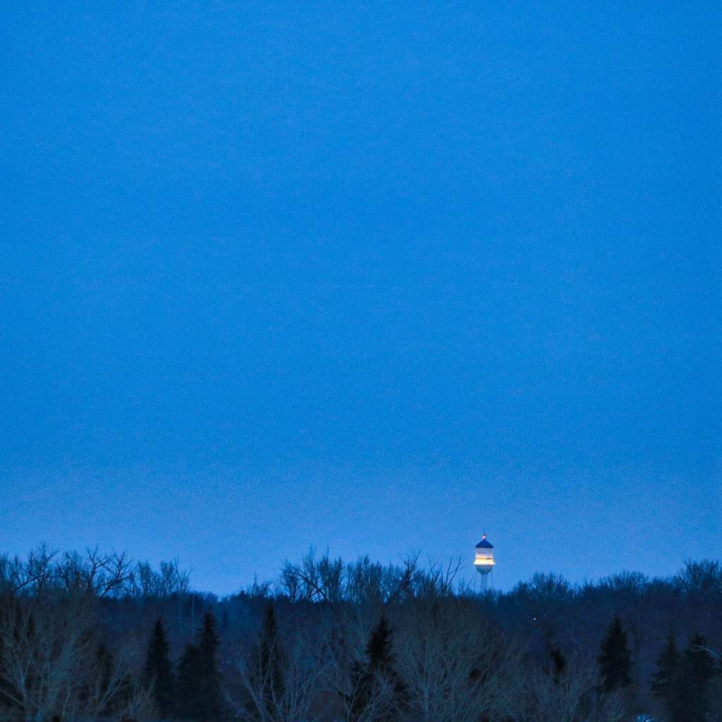 Water Tower at Blue Hour by rwaterhouse