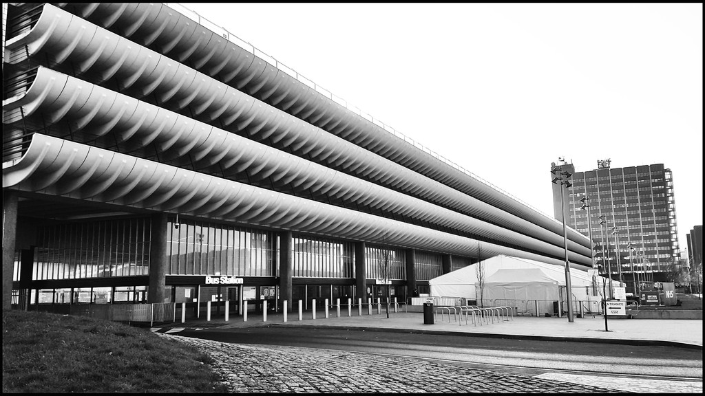 Preston bus station and the covid vaccination reception tent. I'm not so keen on the building but it is now listed! by lyndamcg