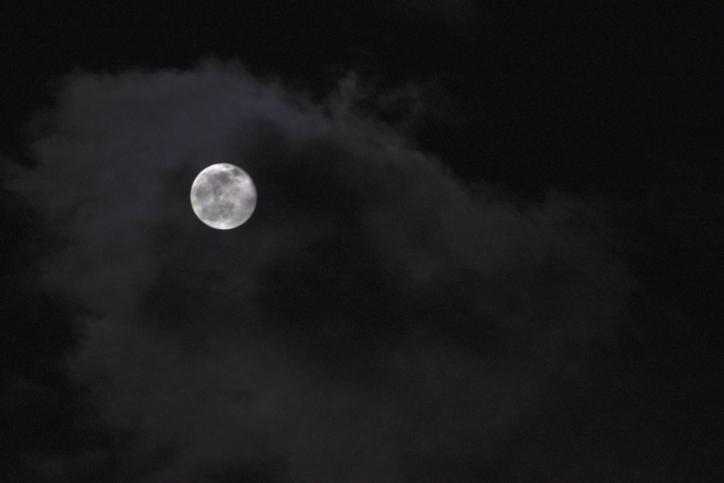 Moon Amidst The Clouds by bjywamer