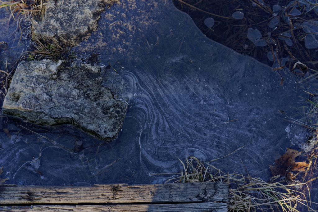 ice patterns around stepping stones by rminer