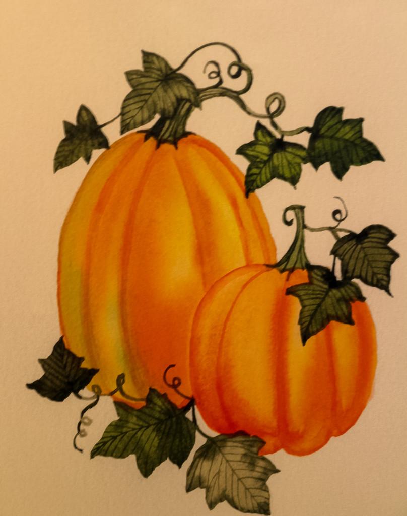 Orange pumpkins by mittens