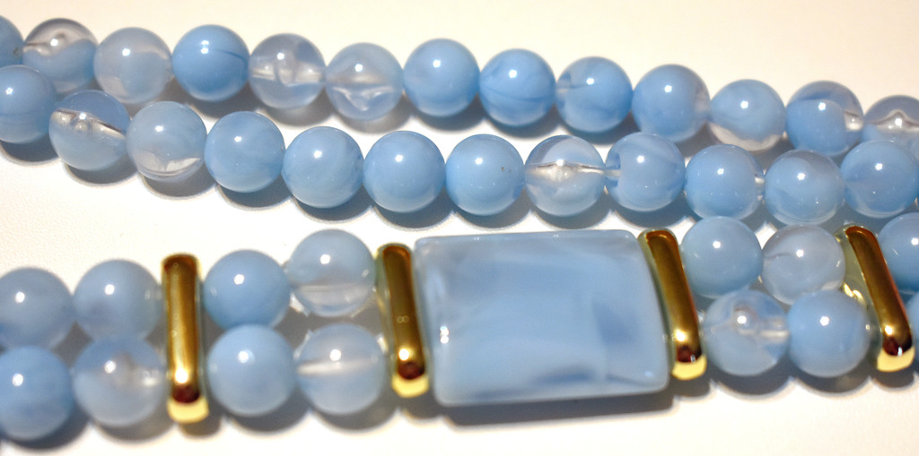 Blue bead necklace by homeschoolmom