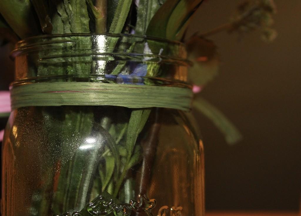 Green jar, stems & ribbon by jb030958