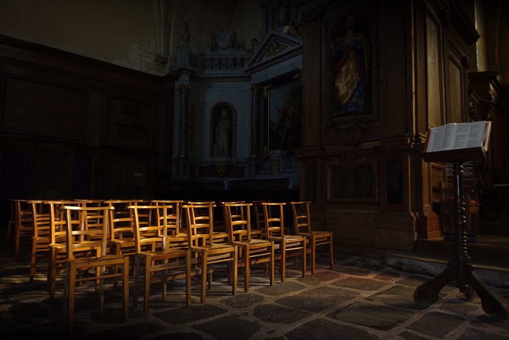 Chancel and chairs, Paimpont Abbey by s4sayer