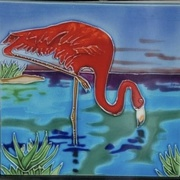 28th Mar 2021 - A ceramic tile flamingo