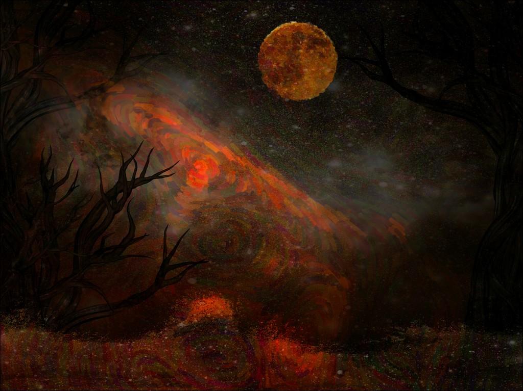 Another Moon a la Van Gogh by olivetreeann