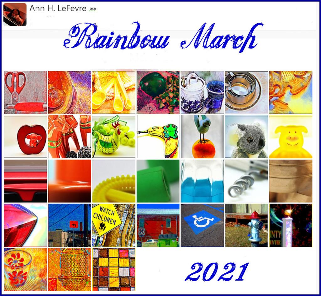 Rainbow March 2021 Calendar by olivetreeann