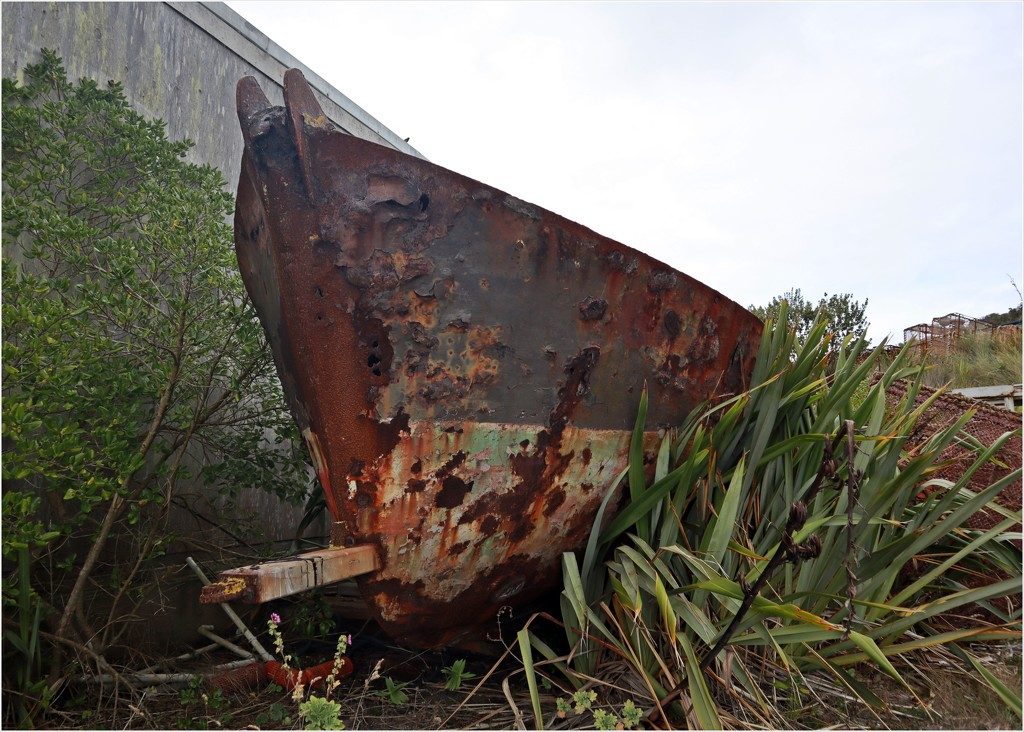An out steel hull left beside the road by sandradavies