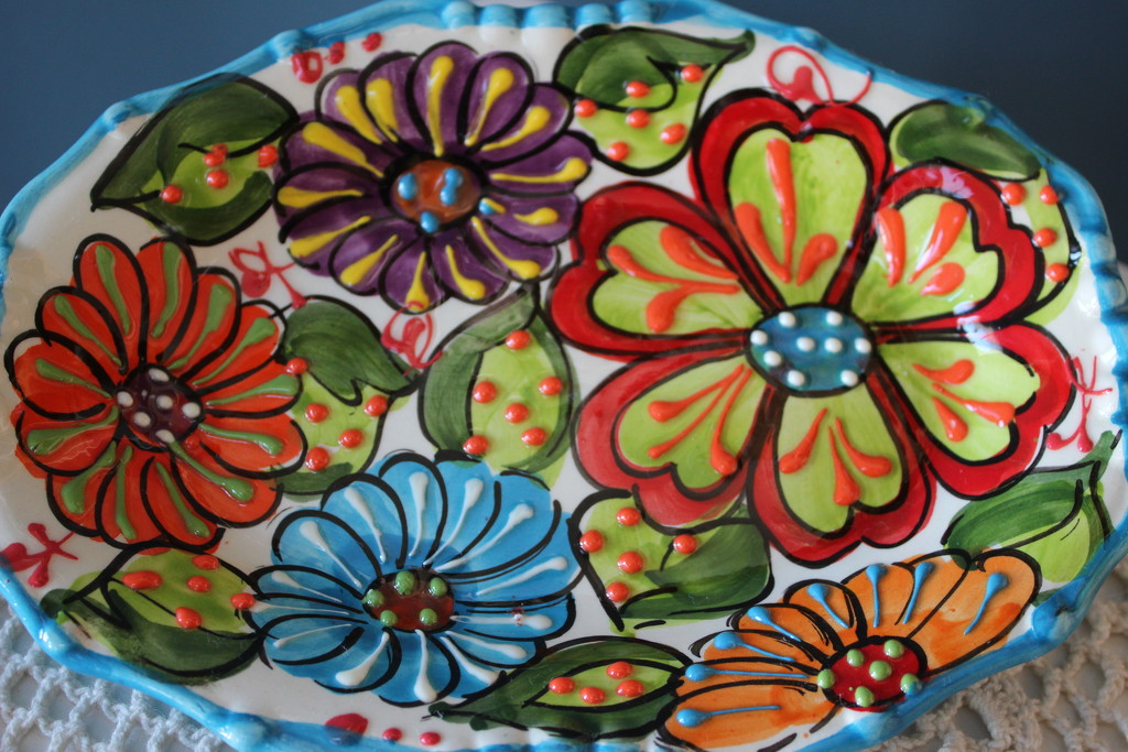 Hand-painted ceramic tray by jb030958